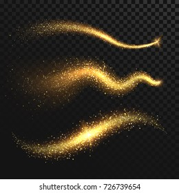 Golden glittering dust tails. Shimmering gold waves with sparkles vector set. Glow wave light, glitter sparkle golden tail illustration