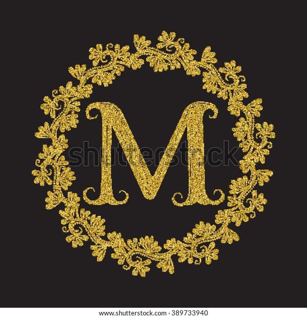 Golden Glittering Letter M Monogram Vintage Stock Vector