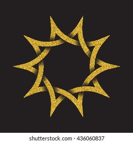 Golden glittering logo in Celtic style on black background. Tribal symbol in ten pointed star form. Gold stamp for jewelry design.