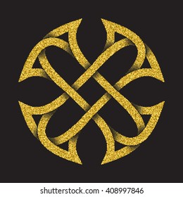 Golden glittering logo symbol in Celtic style on black background. Tribal symbol in cross form. Gold stamp for jewelry design.