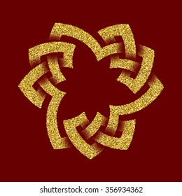Golden glittering logo template in Celtic knots style on dark red background. Symbol in trefoil form. Gold ornament for jewelry design.