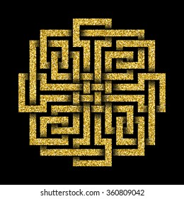 Golden glittering logo template in Celtic knots style on black background. Tribal symbol in square maze form. Gold ornament for jewelry design.