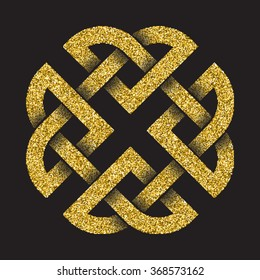 Golden glittering logo template in Celtic knots style on black background. Tribal symbol in square cruciform maze form. Gold ornament for jewelry design.
