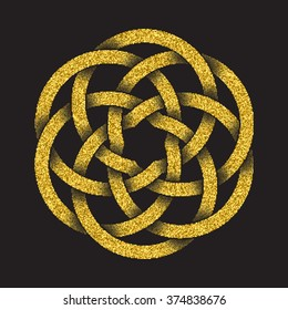 Golden glittering logo template in Celtic knots style on black background. Tribal symbol in circular mandala form. Gold ornament for jewelry design.