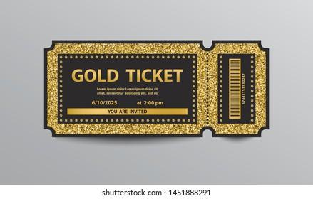 Golden glittering stub ticket template.