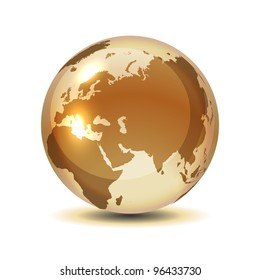 Golden globe with shadow on white, vector illustration, eps 10, 9 layers, easy editable.