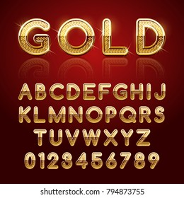 Golden glossy alphabet letters and numbers. Vector illustration