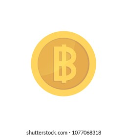 Golden glossy baht coin. Gold pictograph baht shiny coin.