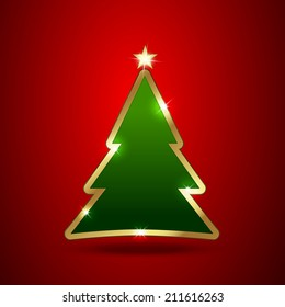 Golden and glossy Christmas tree Vector illustration. Easy to edit.