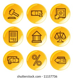 Golden glossy finance icons set. Vector.