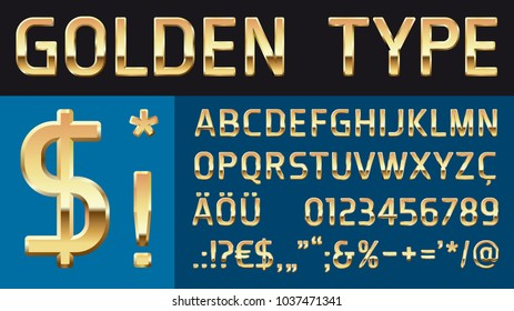 golden glossy modern vector type font with numbers and special characters