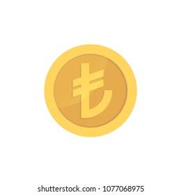 Golden glossy turkish lira coin. Gold pictograph liras shiny coin.