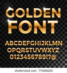 Golden glossy vector font or gold alphabet. Yellow metal typeface. Metallic golden abc, alphabet typographic luxury illustration for your web design.