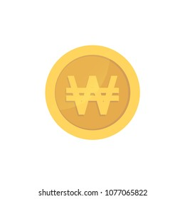 Golden glossy won coin. Gold pictograph won shiny coin.