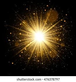 Golden Glow light effect. Star burst with sparkles. Vector Illustration