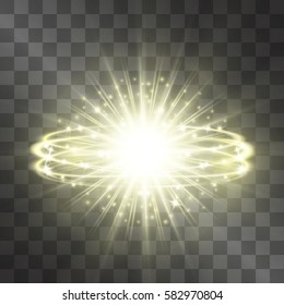 Golden glow vector light effect, star with orbit circles shining halo. Decorative glittering sparkles. Highlight energetic motion luxurious design on transparent background.