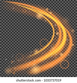 golden glowing curve light effect