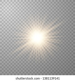 Golden glowing lights effects isolated on transparent background. Sun flash with rays and spotlight. Glow light effect. Star burst with sparkles. Vector illustration eps10.