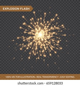 Golden glowing lights effects isolated on transparent background. Explosion Flash with rays and spotlight. Star burst with sparkles. Vector illustration EPS10