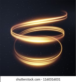 Golden glowing shiny spiral lines effect vector background. EPS10. Abstract light speed motion effect. Shiny wavy trail. Light painting. Light trail. Vector eps10.