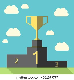 Golden goblet on victory pedestal. Gold trophy on sports podium. Champion cup. Award, triumph, goal, success concept. EPS 8 vector illustration, no transparency