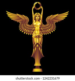 Golden goddess of victory Nike in art deco style with a wreath on a black background