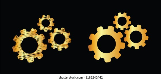 Golden gold cogwheel gear mechanism. Vector eps icon Service gears cogs cog settings setting signs pictogam fun funny concepts for business analysis planning consulting team work project management