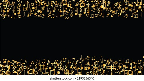 Golden gold lying music notes musical notes Vector eps icon Flying music notes musical notes background banner icon symbols shhh funny fun music art seamless pattern sound backdrop Seamless staf Music