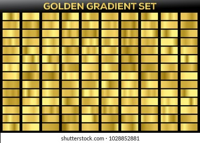 Golden gradient noble metal set. Vector icon set with 140 different metallic gold gradient background texture. Illustration for frame, ribbon, brochure, banner, coins and label precious, bullion noble