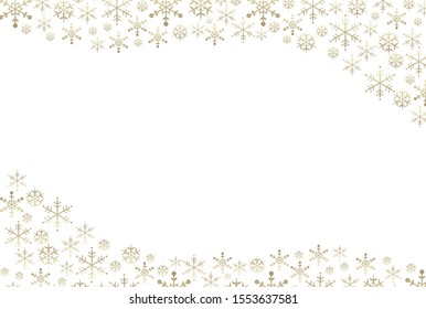 Golden gradient snowflake frame background
