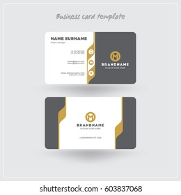 Golden and Gray Business Card Print Template. Personal Visiting Card with Company Logo. Clean Flat Design. Rounded Corners. Vector Illustration. Business Card Mockup with Shadows