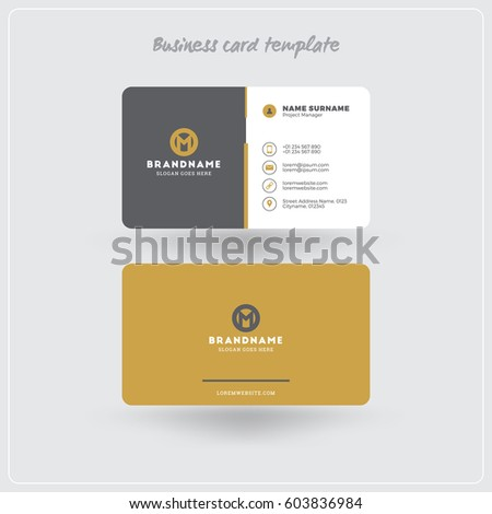 Golden Gray Business Card Print Template Stock Vector Royalty Free