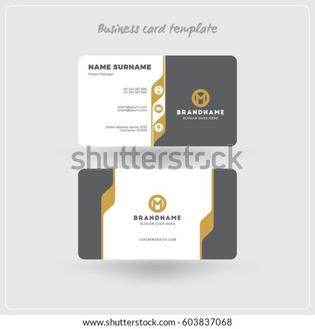 Golden gray business card print template stock vector royalty free golden and gray business card print template personal visiting card with company logo clean friedricerecipe Gallery