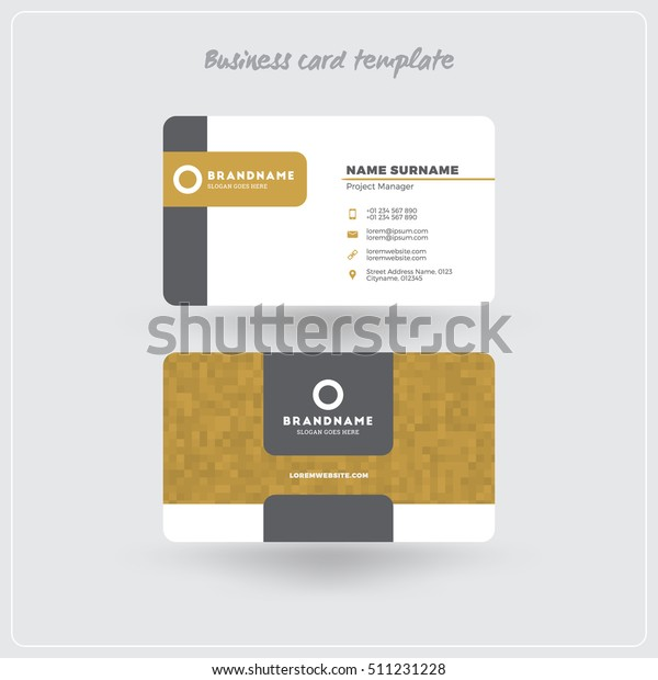 Golden Gray Business Card Print Template Stock Vector