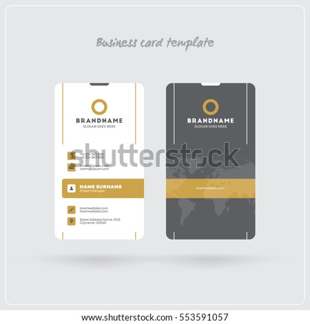 golden gray vertical business card print stock vector royalty free