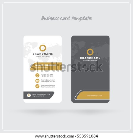 golden gray vertical business card print のベクター画像素材