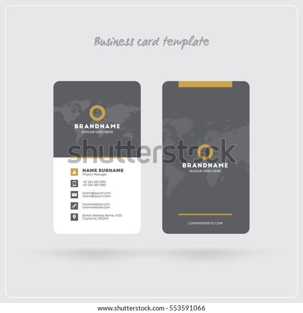 Golden Und Gray Vertikal Visitenkarte Druckvorlage Stock