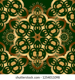 Golden and green seamless pattern. Oriental vector pattern with arabesques and golden floral elements. Traditional classic ornament.