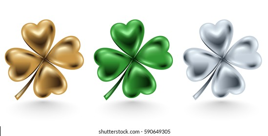 Golden, green and silver clover leaf isolated on white background, vector illustration for St. Patrick day. Four-leaf jewelry 3d design.