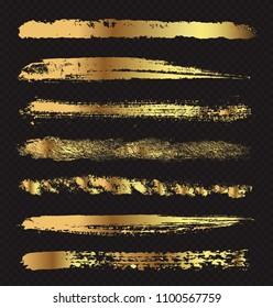 Golden grunge paint stripes.Vector grunge brushes.