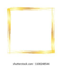 Golden grunge square brush strokes frame isolated over white background. Design element vector illustration.