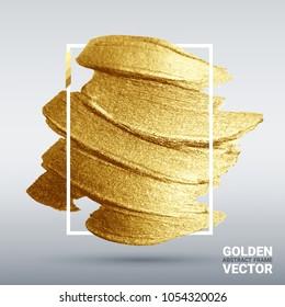 Golden grunge texture. Vector  brushstroke. A brilliant festive pattern. Light background.