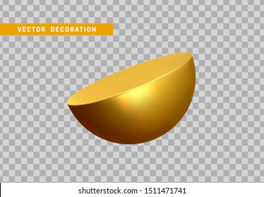 Golden Half round sphere volumetric ball. 3d Geometric Shapes Objects. Realistic geometry element. Render Decorative figure for design. vector illustration