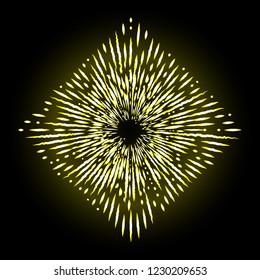 Golden halo star, angel and saints ring  in star shape  design element. Sign of saints represented as nimbus, aureole or glory and gloriole. Tattoo reference. Vector.