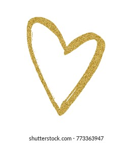Golden hand drawn heart on white background. Heart print for fabric clothing decoration. Heart from gold glitter.