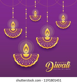 Golden hanging diya (india oil lamp) in line art style. Diwali or Deepavali vector greeting card. (caption: Festival of lights)