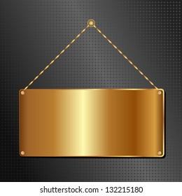 golden hanging sign panel on black background