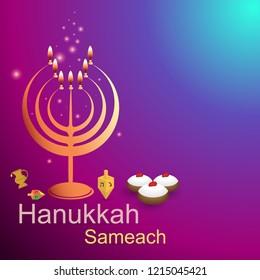Golden hannukiya on bokeh sunset background, with magic lights. Jewish religion, Hanukkah lights, old tradition, judaica , candlestick creative concept on purple blue background