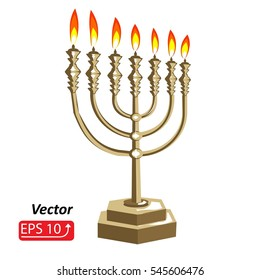 Golden Hanukkah menorah with fire candles, isolated  on white  background. vector illustration