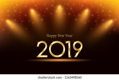 Golden Happy new year 2019 and yellow spot light with glitter on black color background